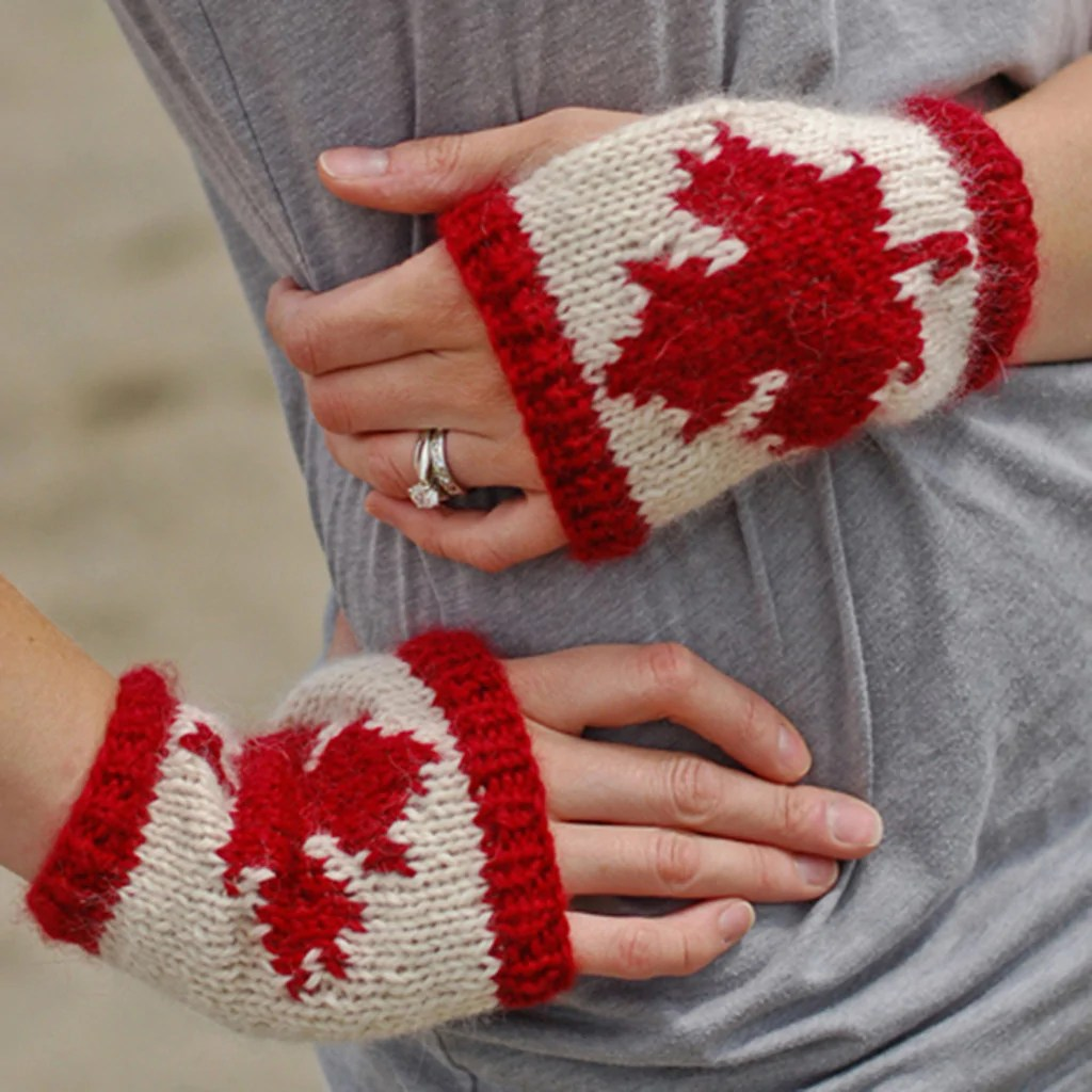 Canadian fingerless gloves knitting pattern the crafty jackalope 1
