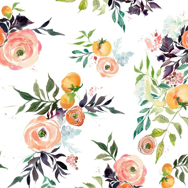 Cell Wallpaper Hd Illustration Fall Fruits And Blooms Watercolor Fabric Kristyrice Com