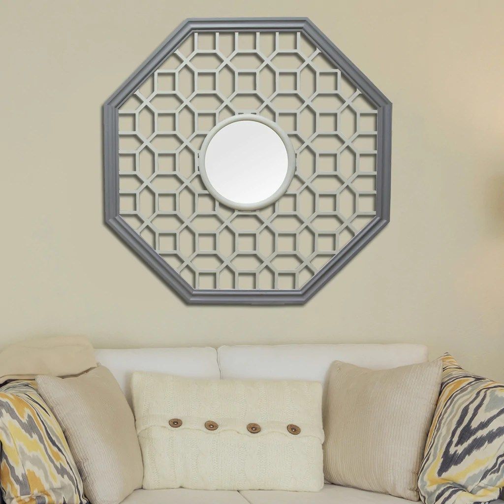 Octagon Fretwork Wood Wall Mirror Stratton Home Decor
