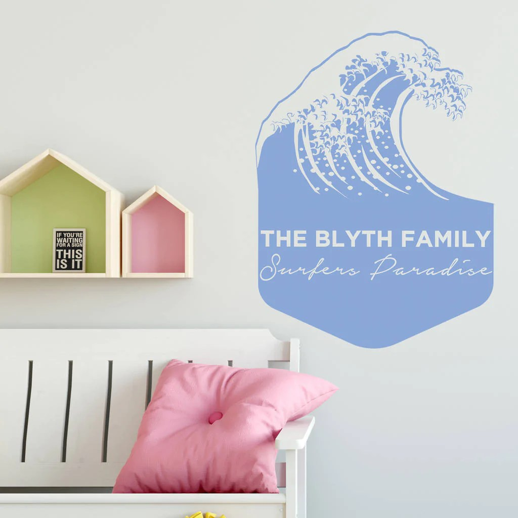 Personalised Sticker Personalised Wave Wall Sticker