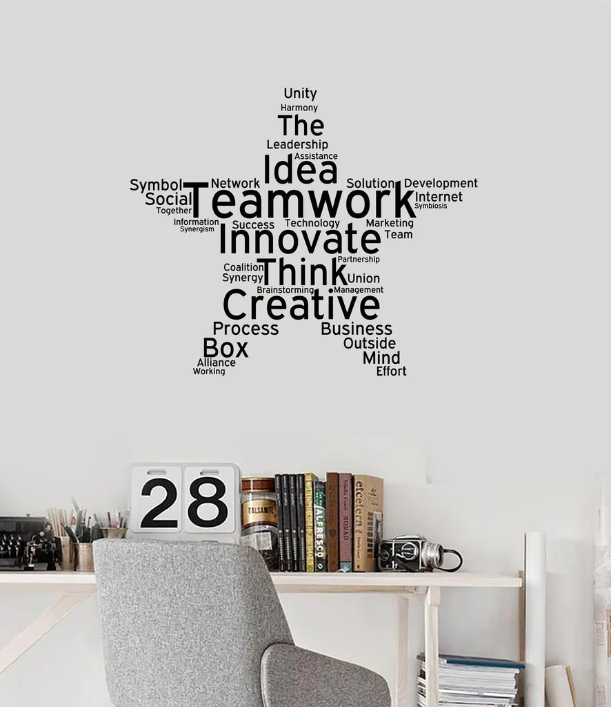 Décoration Murale Vinyle Teamwork Vinyl Wall Decal Office Study Decoration Star Words Cloud Stickers Mural Ig5453