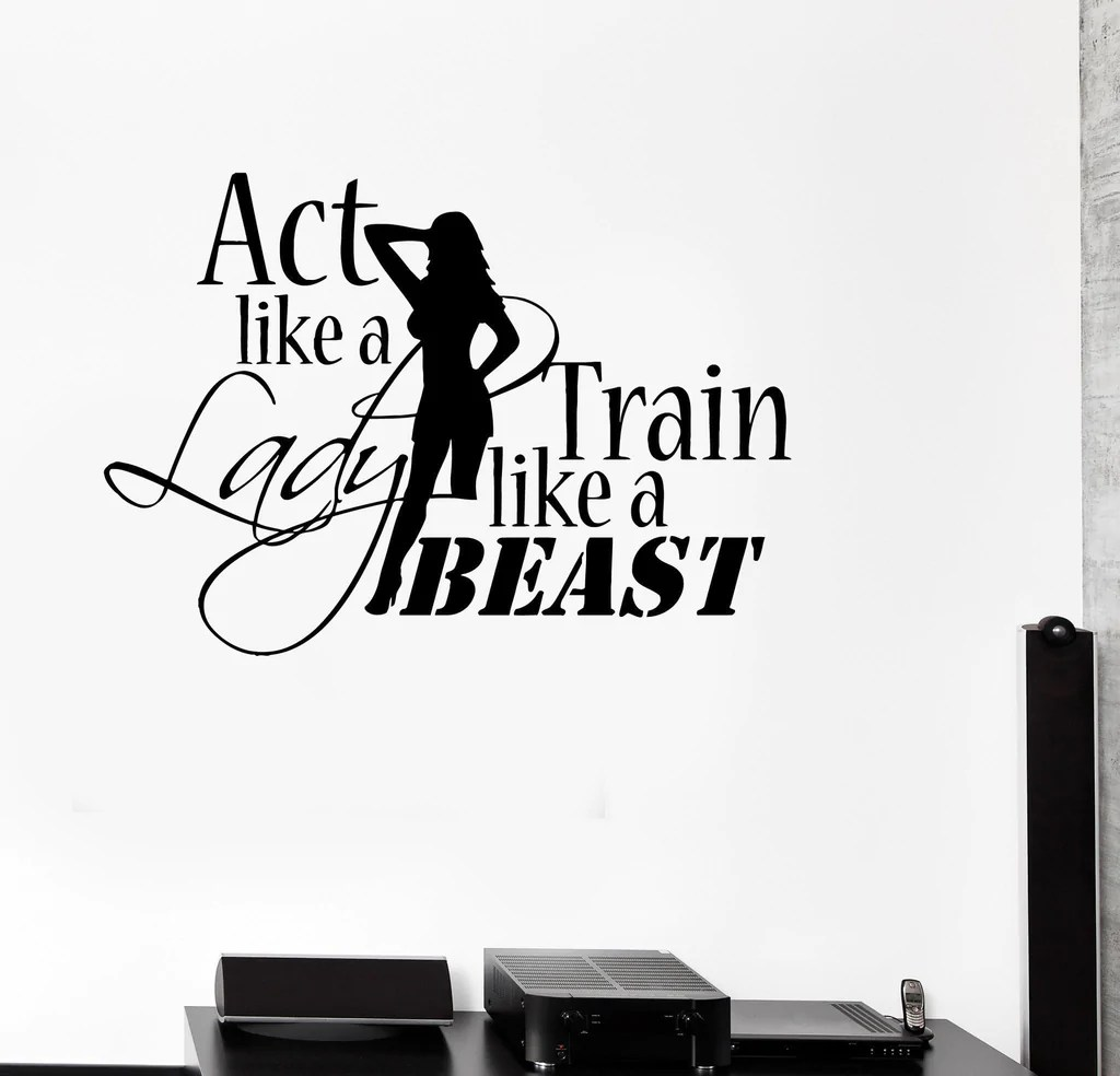 Vinyl decal sports quote motivation bodybuilding gym woman fitness wall stickers ig2717