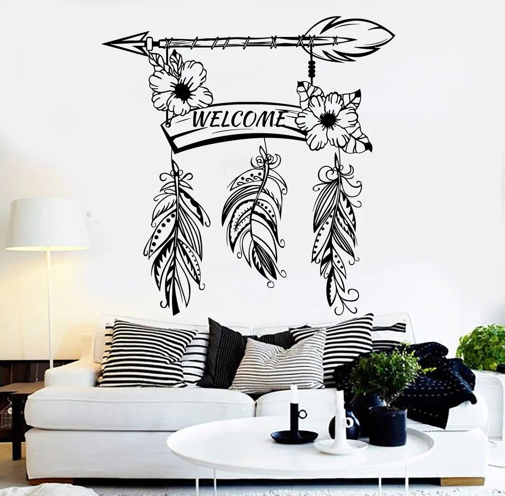 Décoration Murale Vinyle Vinyl Wall Decal Welcome Feathers Home Decoration Room Stickers Mural Unique Gift Ig4590