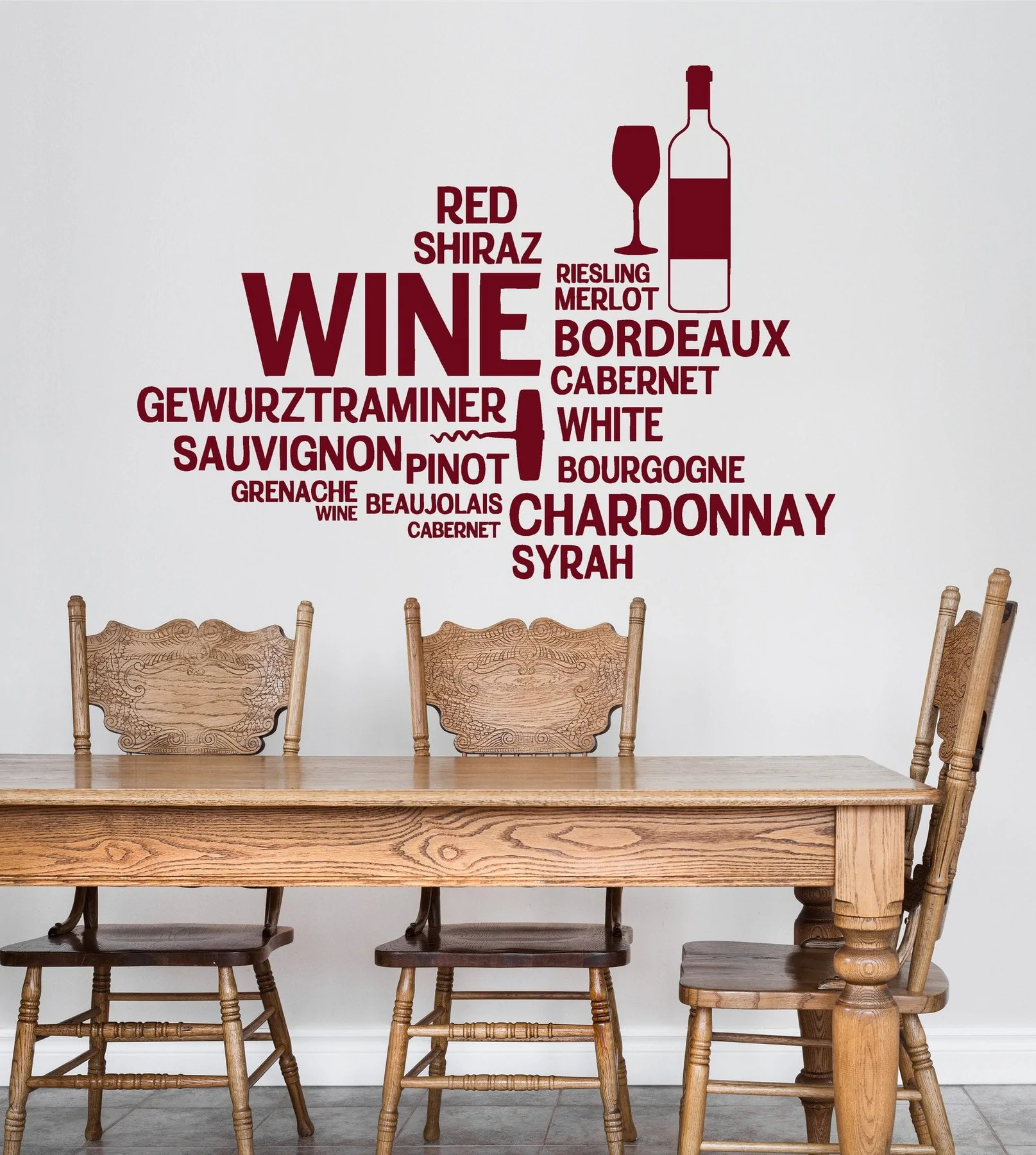 Stickers Bordeaux Vinyl Wall Decal Wine Bar Bottle Glass Restaurant Words Stickers Unique Gift Ig4711