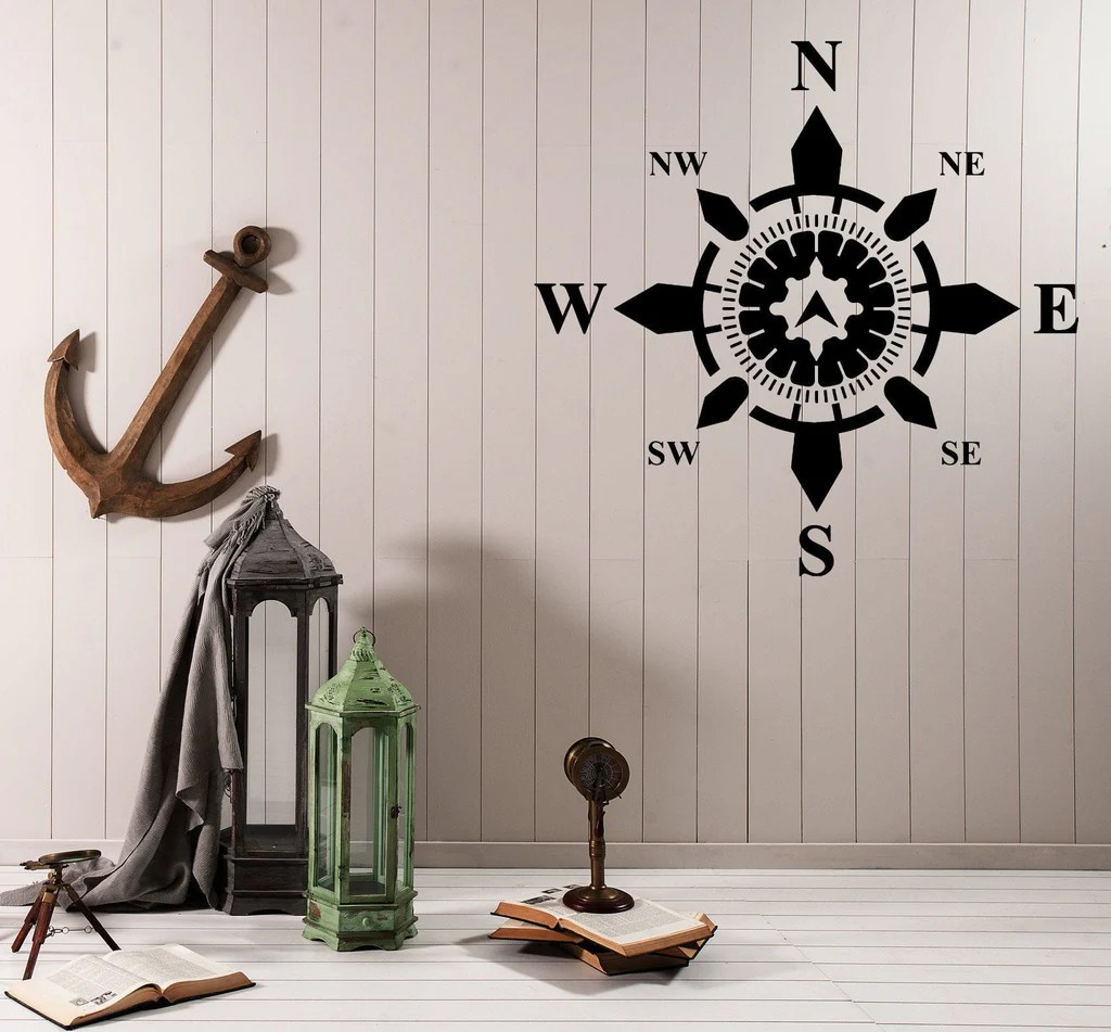 Nautical House Decor Wall Vinyl Decal Side World Compass Navigation Nautical Interior Decor Unique Gift Z4578