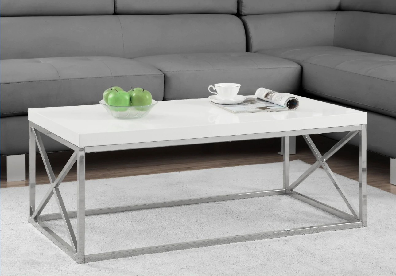 Table De Salon Blanc Lustre Avec Metal Chrome Meublescasa - Lustre Pour Salon Blanc