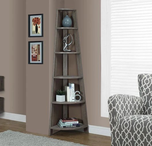 "Meuble Tv Rue Du Commerce Dark Taupe Reclaimed-look 72""h Corner Accent Etagere"