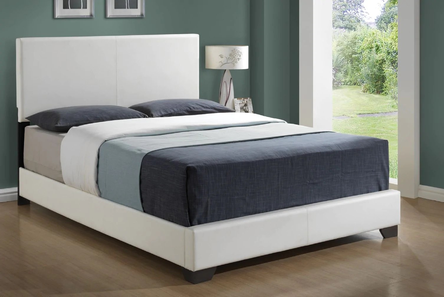 Lit Simili Cuir Blanc White Leather Look Queen Size Bed Lit Queen Simili Cuir Blanc