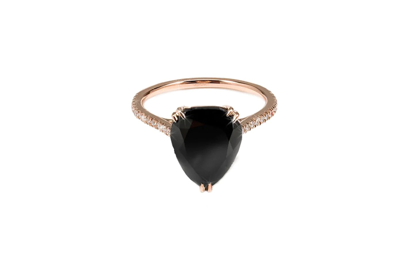 Black Diamond Rose Gold Pear Shaped Black Diamond Ring