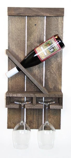 Rustic Cabinets Slanted Wine Bottle & 2 Glass Rack - Classic Handmade