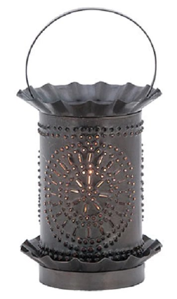 Vanity Pendant Lights Punched Tin Wax Tart Warmer Chisel Pattern In Smokey Black