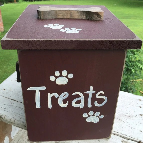 Dog Treat Storage Chest Amish Handmade Wood Food Bin