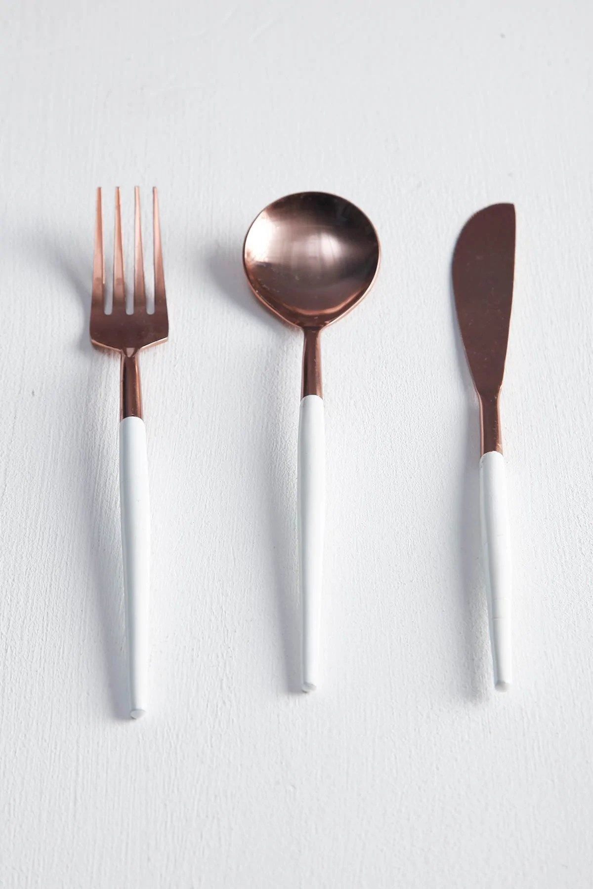 Gold Cutlery Sets Iridescent Rose Gold Cutlery Set Set Of 3 Freedom Tree