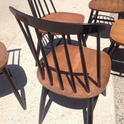 Vintage Danish Modern Windsor Dining Chairs Set Of 5