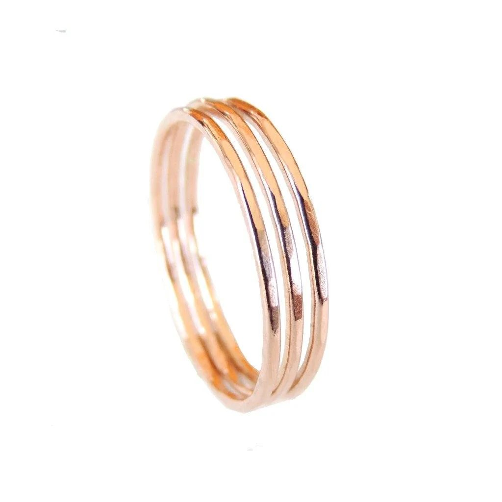 Wholesale Jewelry Gold Filled Thin Hammered Rose Gold Filled Ring Wholesale