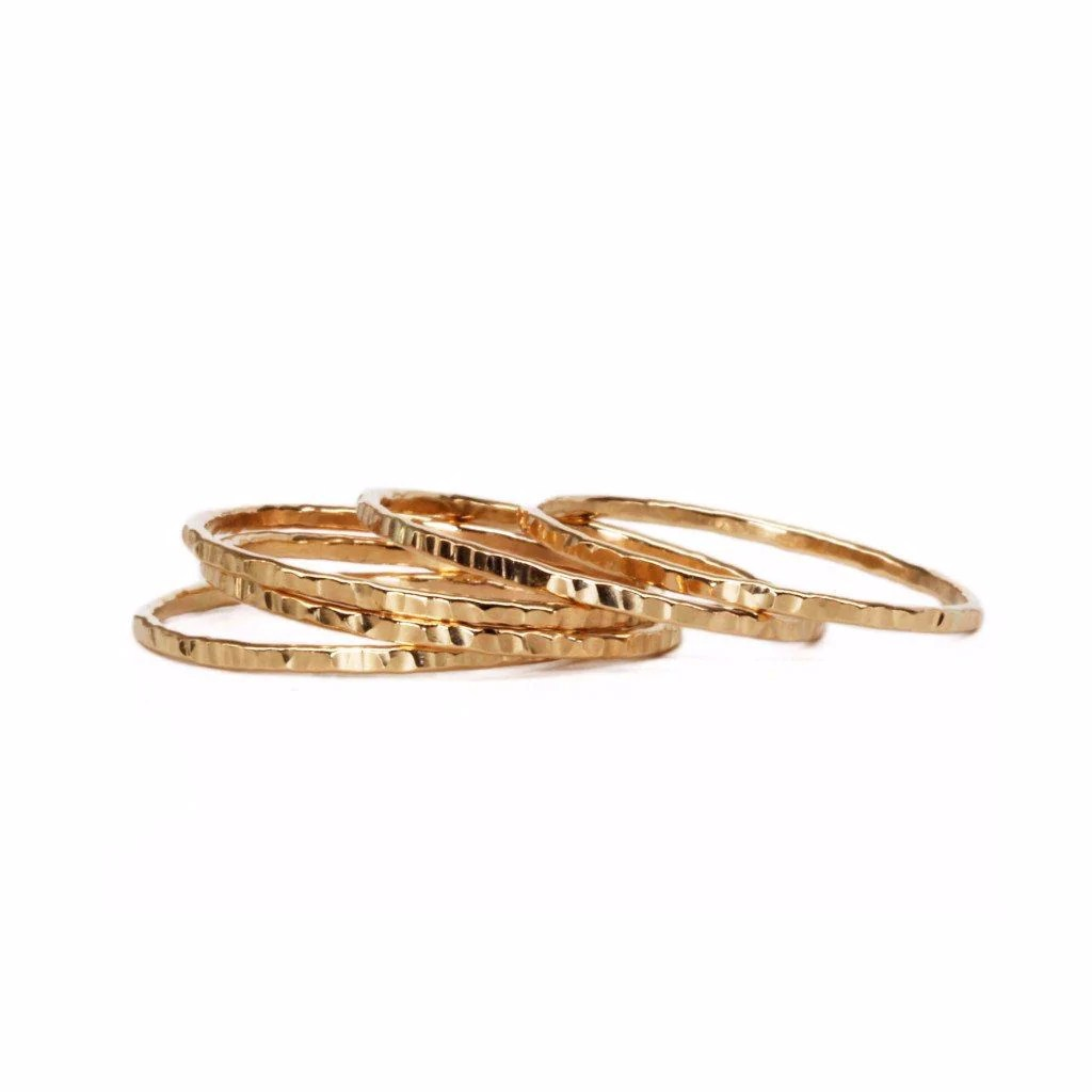 Wholesale Jewelry Gold Filled Thin Hammered Gold Filled Ring Wholesale
