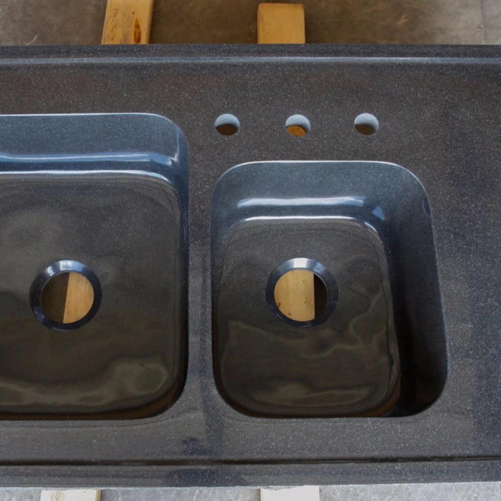 custom double basin kitchen sink black granite stone kitchen sink Custom Double Basin Kitchen Sink Black Granite