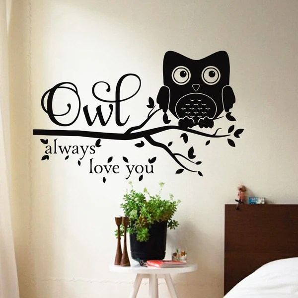 love owl wall sticker waterproof home decoration children owl wall sticker contemporary wall stickers