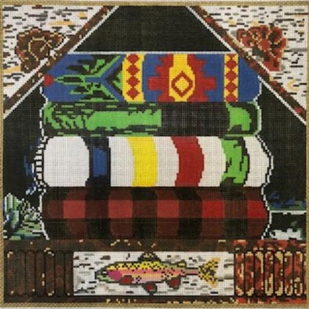 Camp Blankets Needlepoint Handpainted Susan Wallace Barnes Camp Blankets 12x12