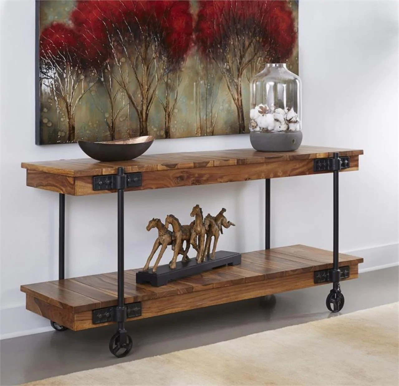 Rustic Wheeled Console Table My Furniture Place