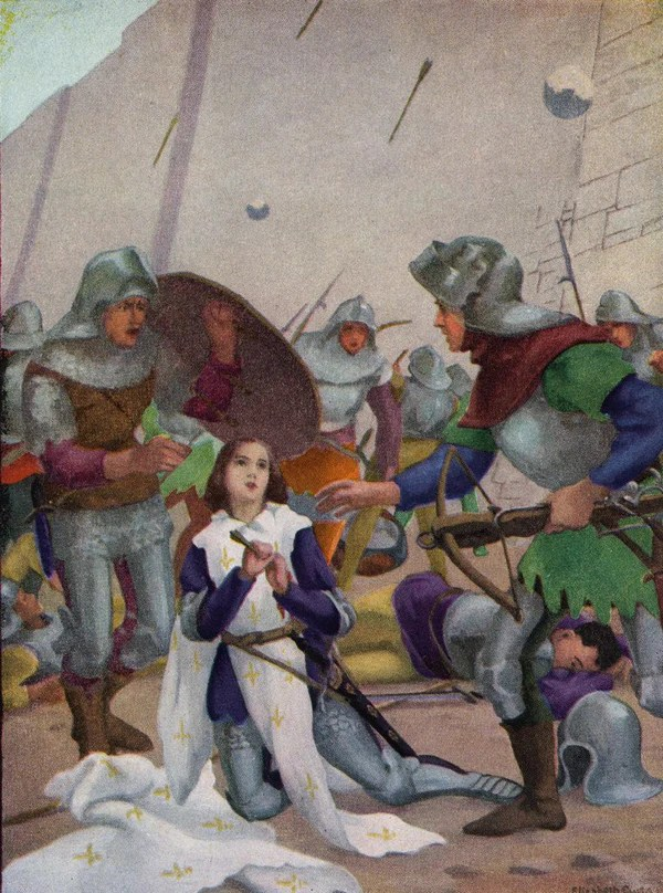Xxxl Poster Joan Of Arc Drawing An Arrow From Her Chest In Battle