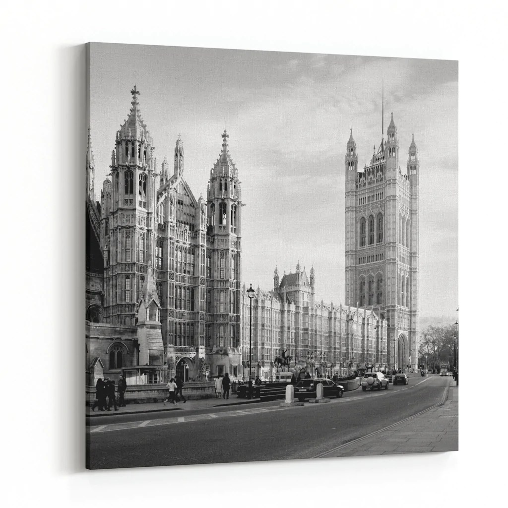 Black And White Canvas Pictures Houses Of Parliament In London Uk View From Abingdon Street Black Andwhite Canvas Wall Art Print