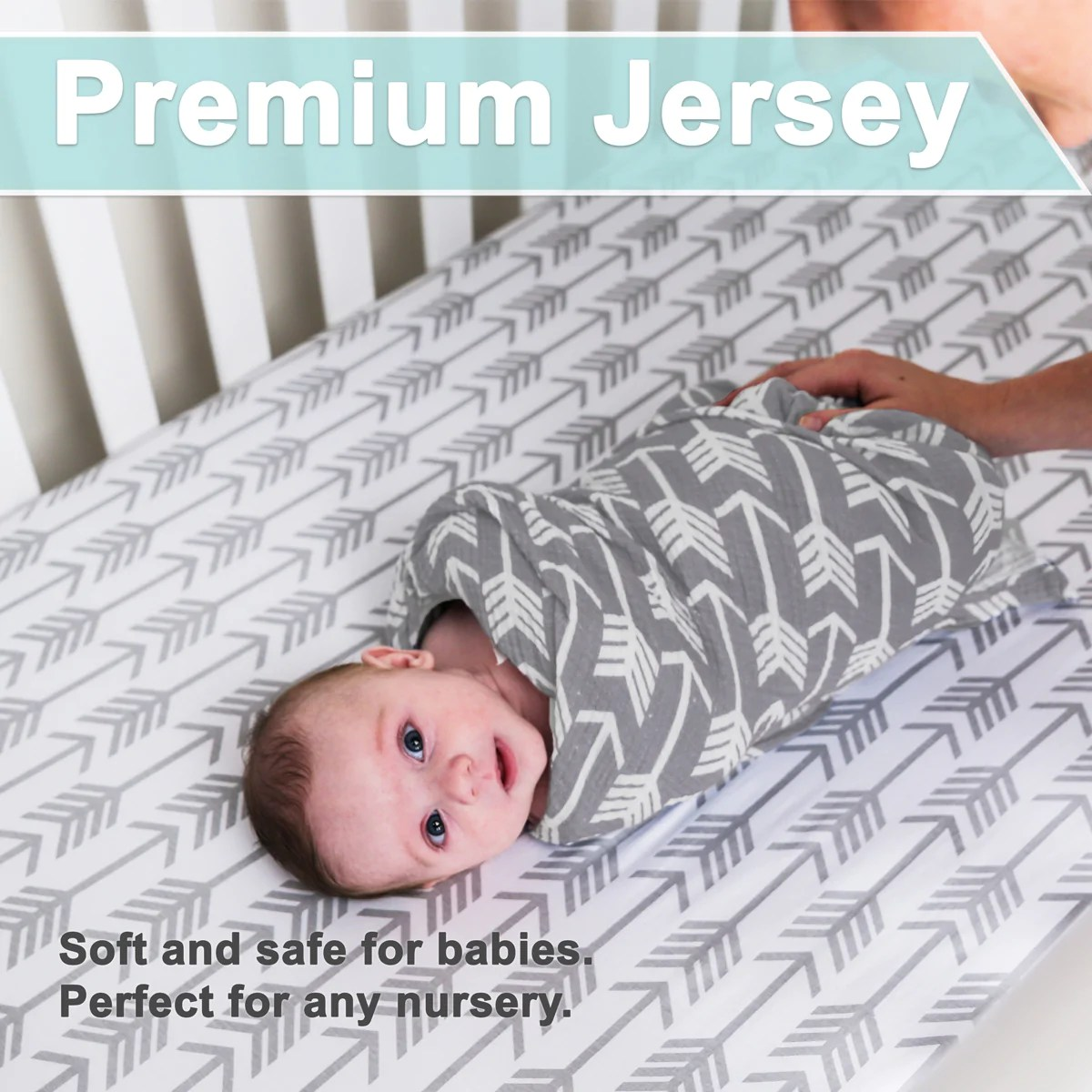 Baby Cradle Sheets Crib Sheets Fitted Jersey Cotton 2 Pack Arrows Stars