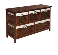 Wicker Storage Chest Baskets Organizer Furniture Wood ...