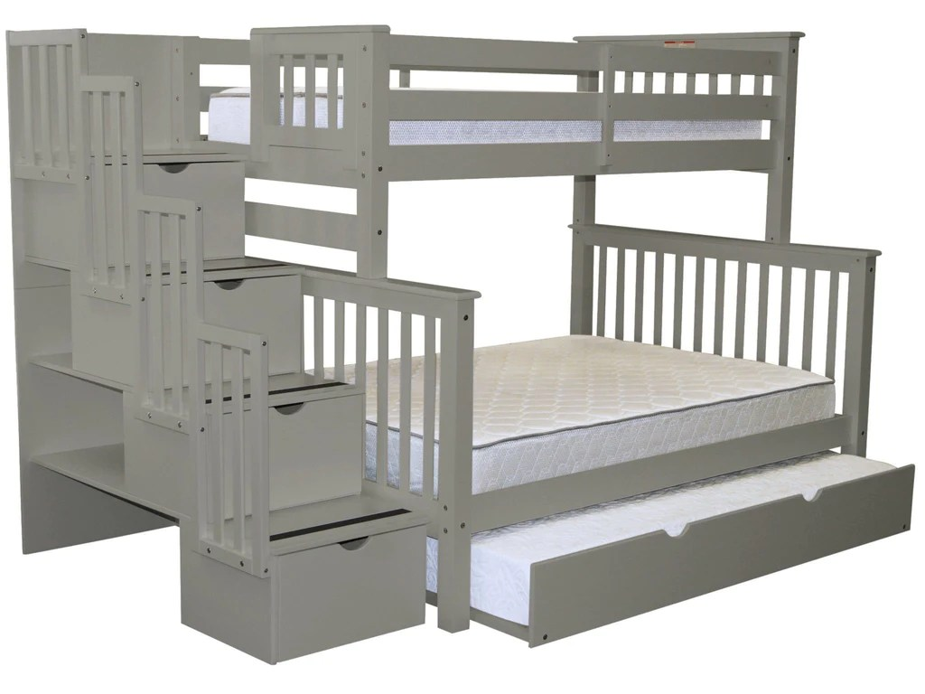 Double Bunks For Sale Bunk Beds Twin Over Full Stairway Gray Trundle Free Shipping