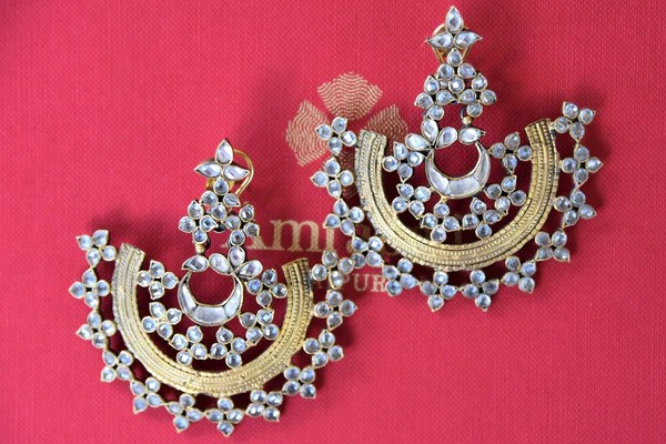 Buy Silver Gold Plated Glass Earrings Online From Pure