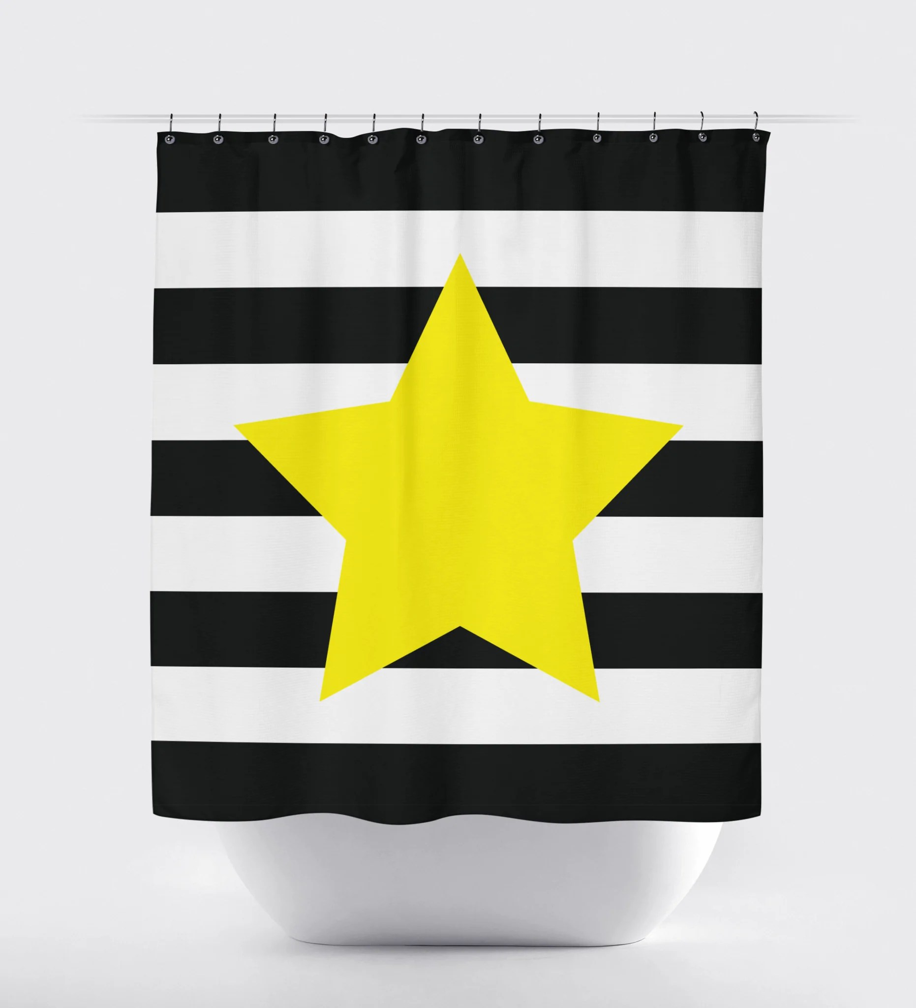 82 Shower Curtain Star Shower Curtain With Rugby Stripes Amethyst Pool White Choose Any Colors