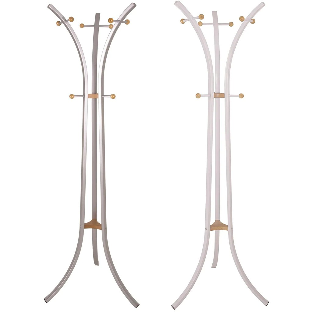 Freedom Coat Stand Modern Design Metal Coat Stand Solid Wood Trim In White Or