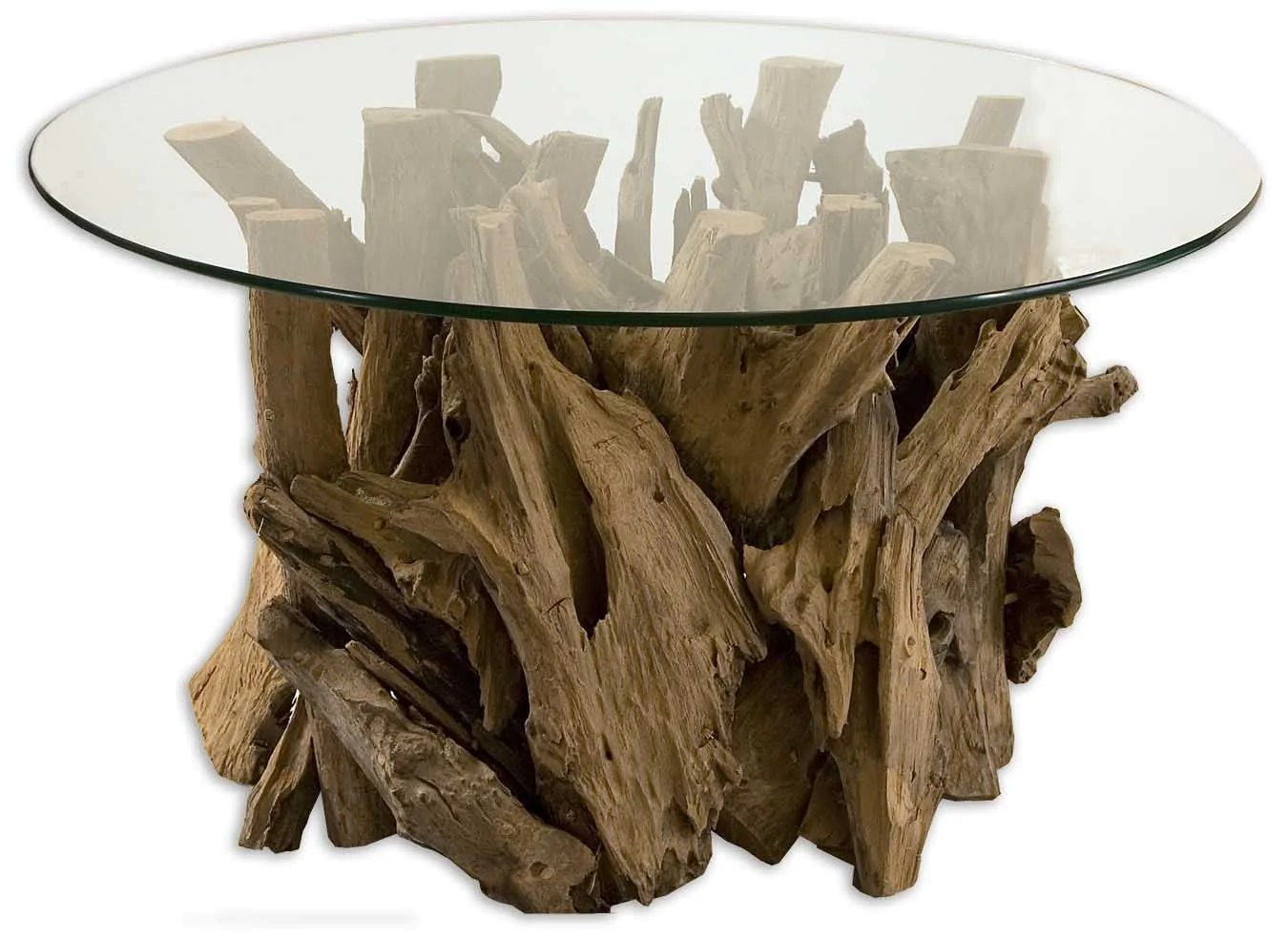 Round Glass Top Coffee Table Driftwood Natural Teak Round Glass Top Coffee Table