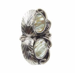 Creative Ring098 Abalone Two Raven 2 Leaf 2 Stone Ring 15 Front 25e94d70 E067 485f 9695 47754b400212 1024x1024 Two Stone Ring Implicit Two Stone Ring Kay
