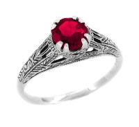 Art Deco Filigree Engraved Ruby Promise Ring in Sterling ...