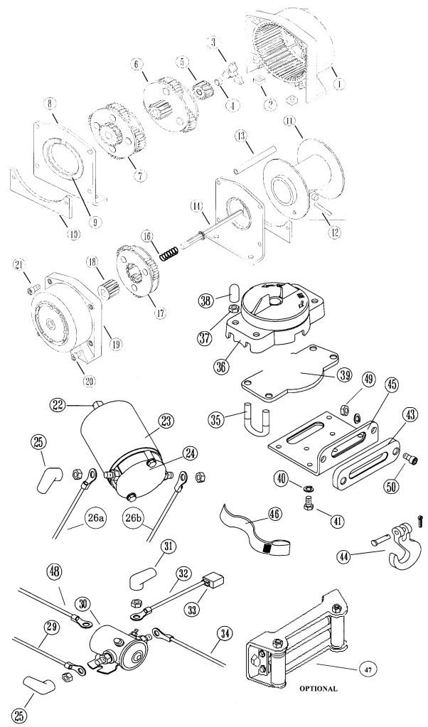 warn winch a2000 parts diagram