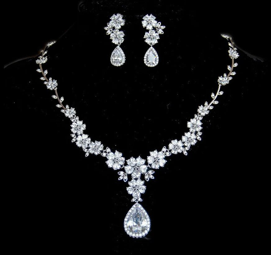 Where To Get Bridal Jewelry Floral Bridal Jewellery Set Cubic Zirconia Necklace And Earrings Wedding Jewellery Bridal