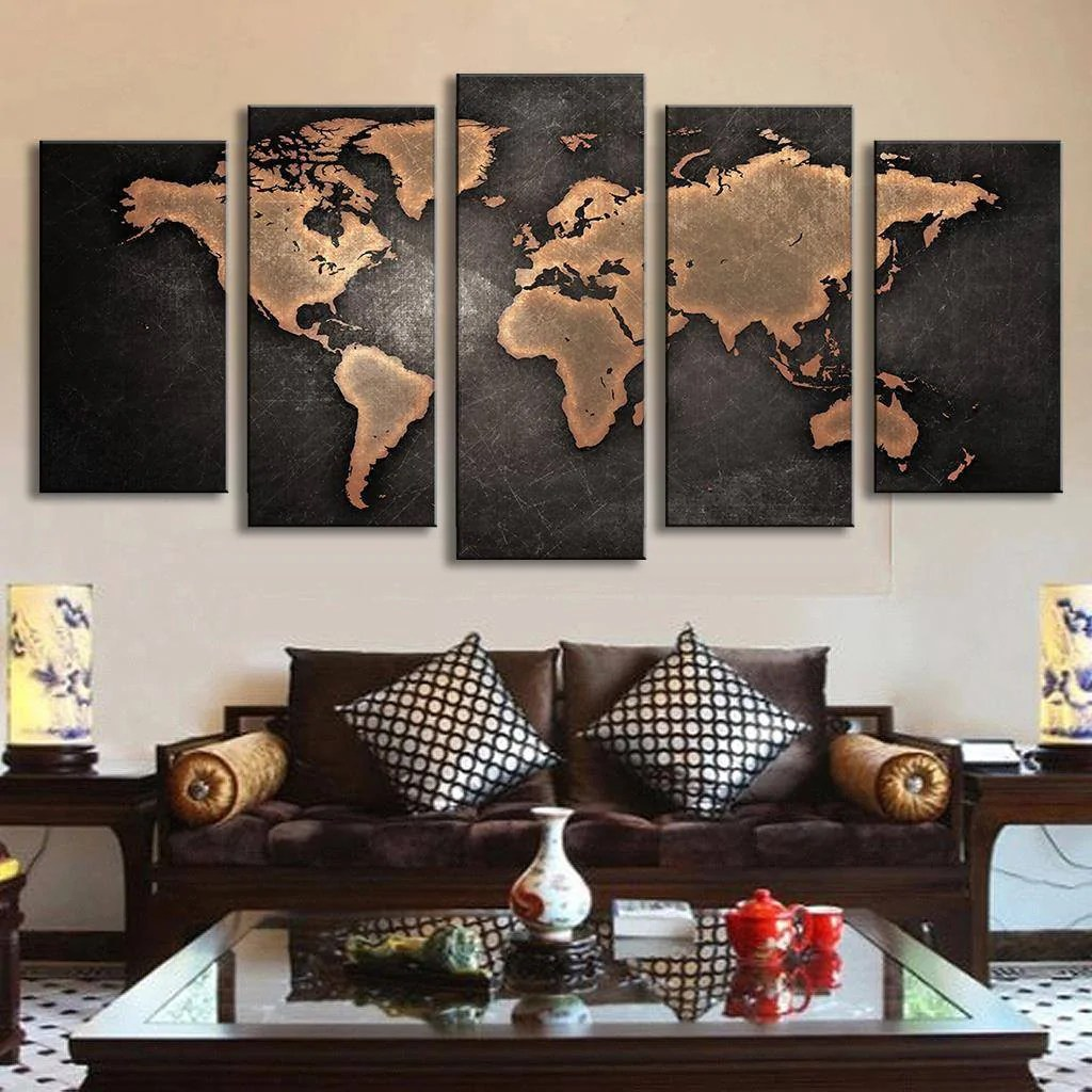 World Map Decorations World Map Wall Art Travel Brown Panel Painting Wall Decor Canvas Prints Canvas Only