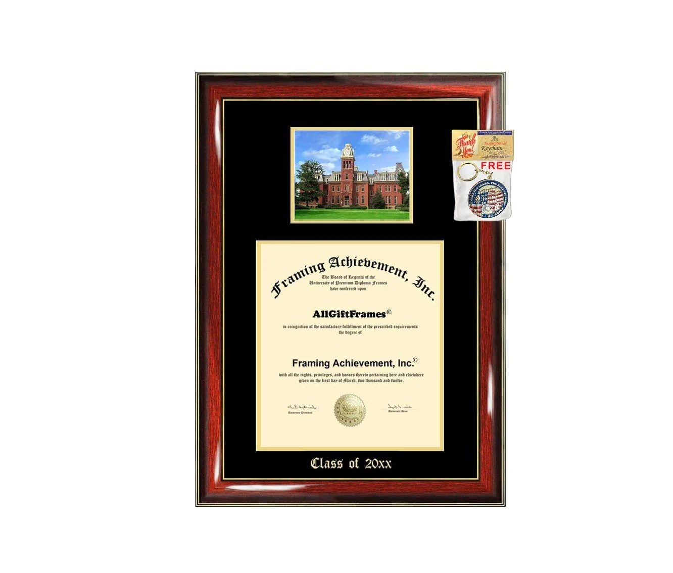 Large Frame Mat Wvu Diploma Frame Big West Virginia University School Campus Photo Graduation Degree Double Mat Framing Document Graduation Gift Bachelor Master Mba