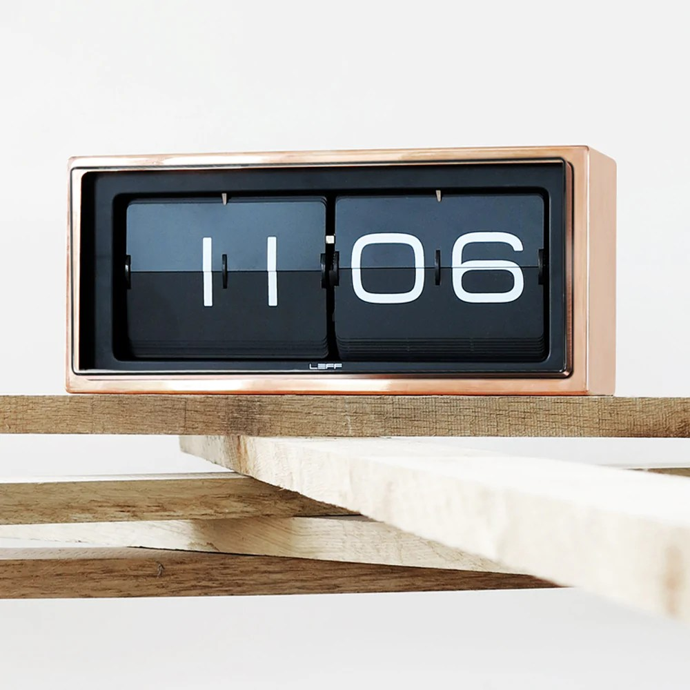 Flip Clock Brick Flip Clock Copper Black