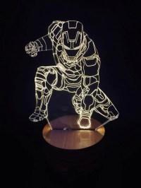 3D Iron Man Wood Mood LED Lamp Bulbing Light | KnocknKnock