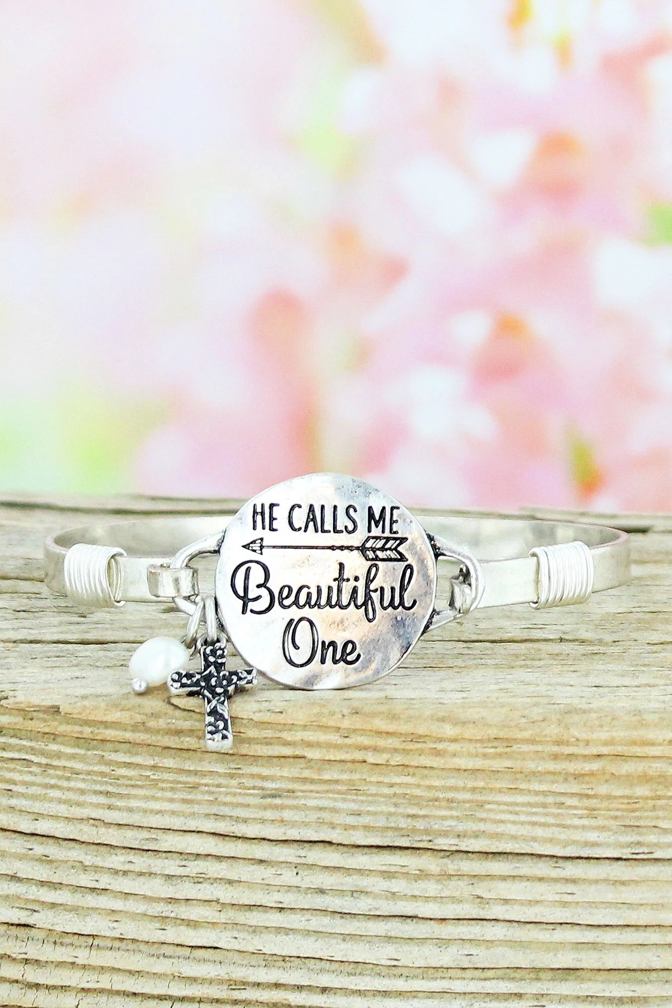 Beautiful One Burnished Silvertone He Calls Me Beautiful One Bracelet