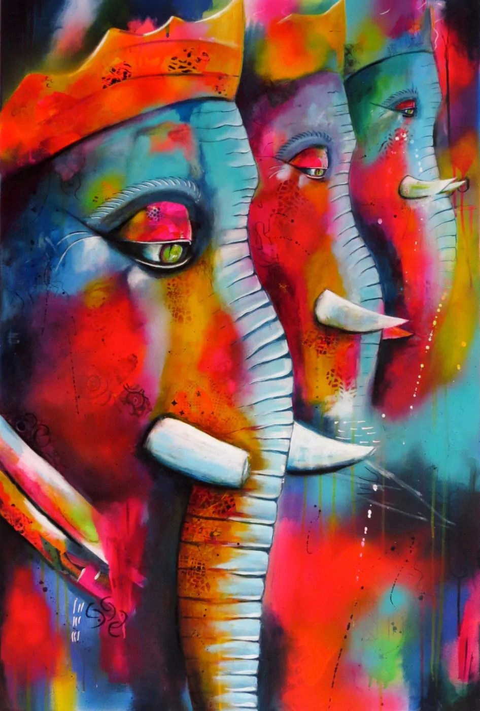 Abstract Art Prints On Canvas Abstract Art Ekdant Ganpati Ganesha Painting Collection Canvas Prints