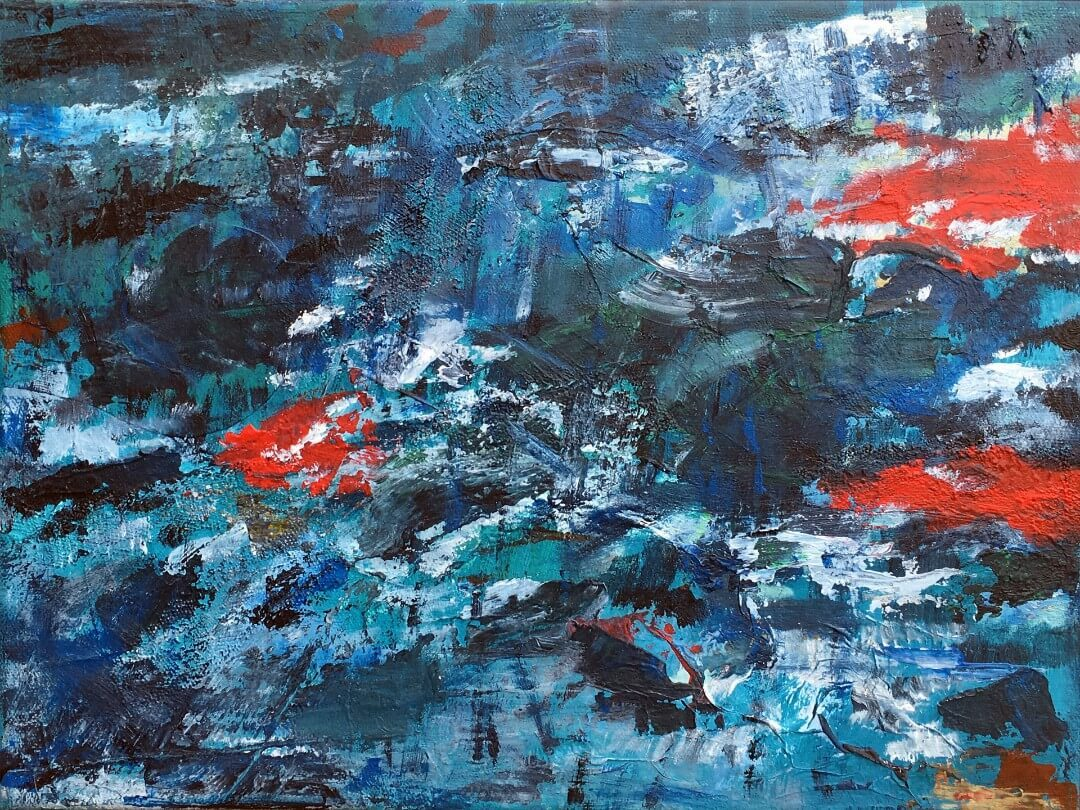 Contemporary Abstract Painting Contemporary Abstract Art Salmons Swimming Upstream Posters