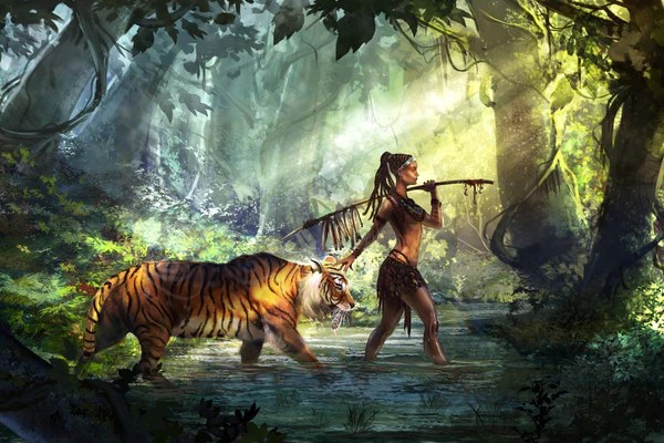 Sonic Wallpaper Hd 3d Fantasy Art Woman Warrior With Tiger By James Britto
