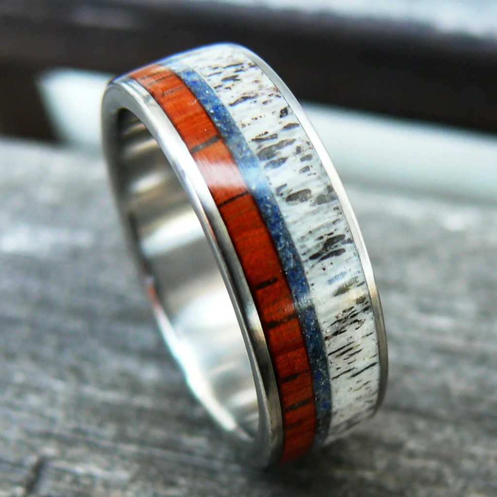 products antler wedding ring Unique handcrafted wood antler turquoise wedding ring set in rose gold