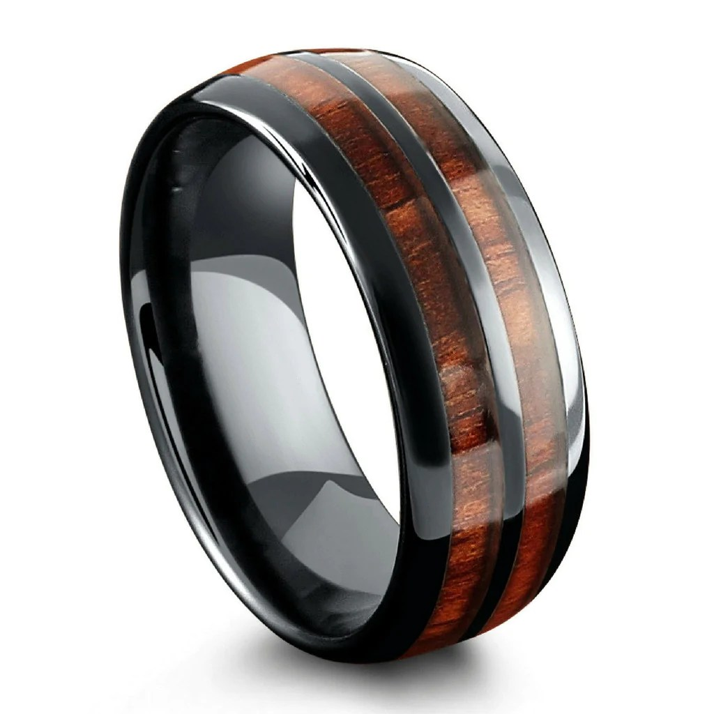 northernroyal wooden wedding rings The Barrel Ceramic Koa Wood Wedding Ring Mens Wood Wedding Ring