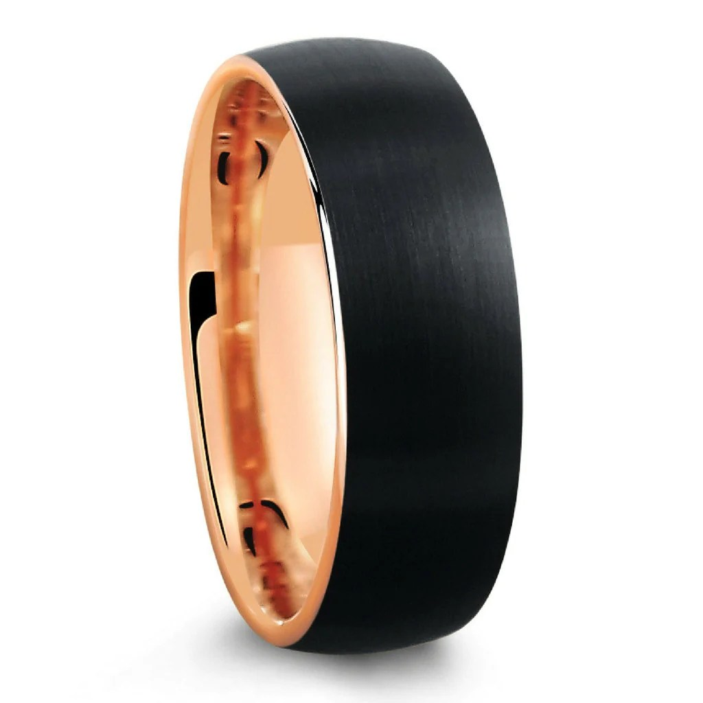 gold tungsten wedding bands Mens Tungsten Wedding Bands 8mm Mens Ring Two Tone Black Polished with Rose Gold Step Edge