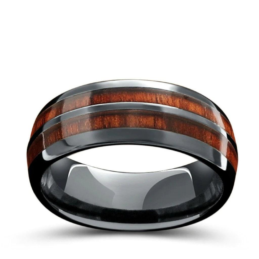 barrel ceramic koa wood ring mens wooden wedding bands The Barrel Ceramic Koa Wood Wedding Ring