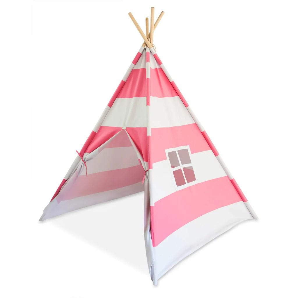 Teepee Kids Deluxe Kid Teepee Tent Bubble Gum Pink White